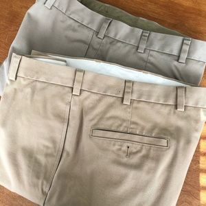 2 Khaki Pants 38 x 32 flat front Brothers Banks